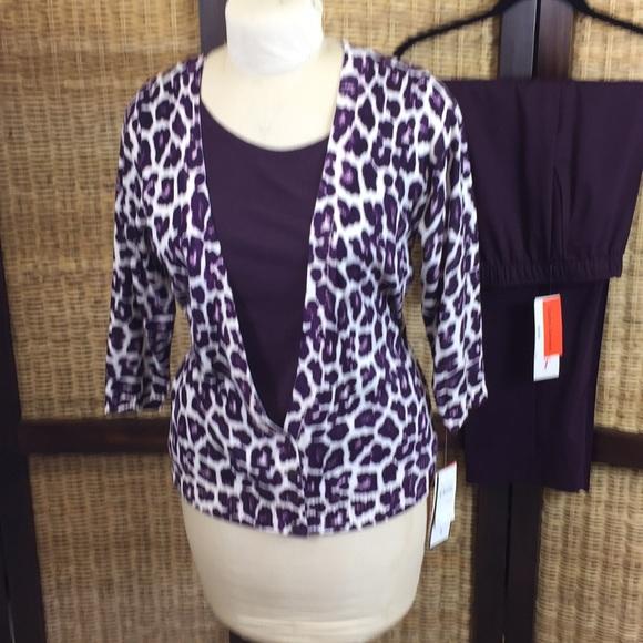 4b8ed1dba7139f Cathy Daniels Sweaters   Purple Print Sweater Pull On Slacks Size M ...